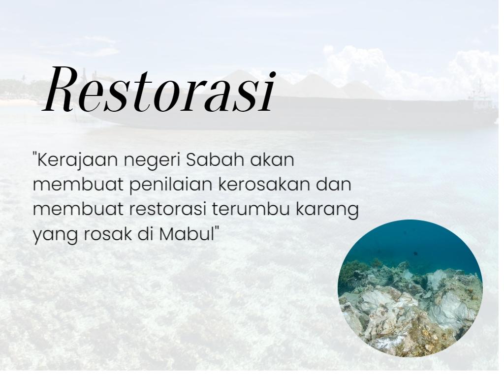restorasi terumbu karang di Mabul