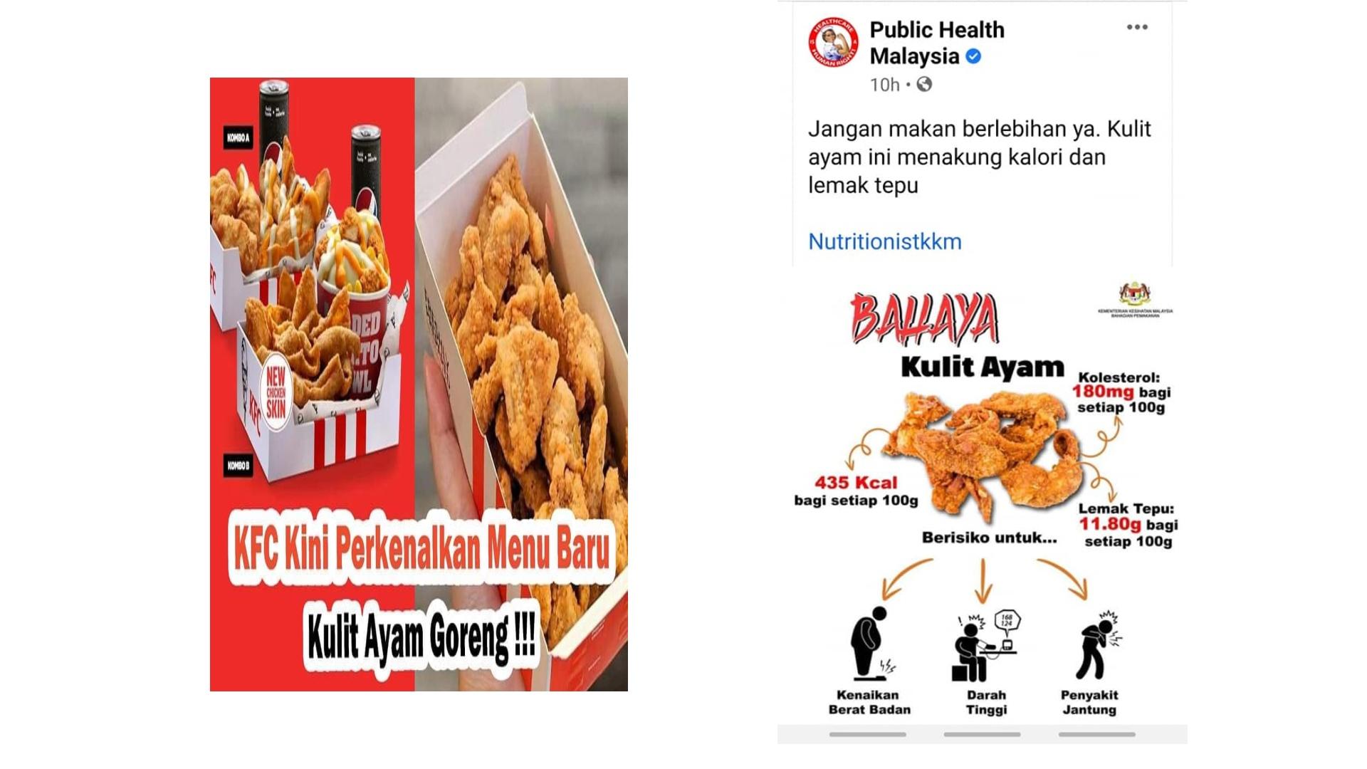 KKM cited the dangerous of fried chicken skin for health